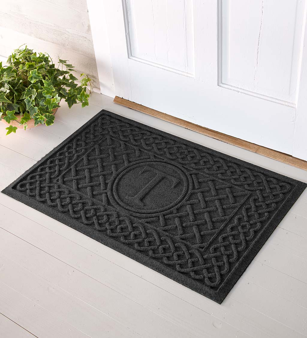 Waterhog Cable Weave Doormat with Single Initial, 2' x 3' - Charcoal