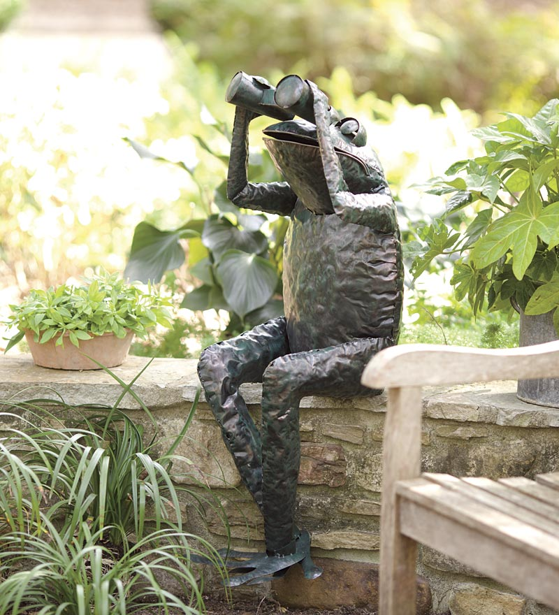Handcrafted Metal Frog with Binoculars Yard Accent