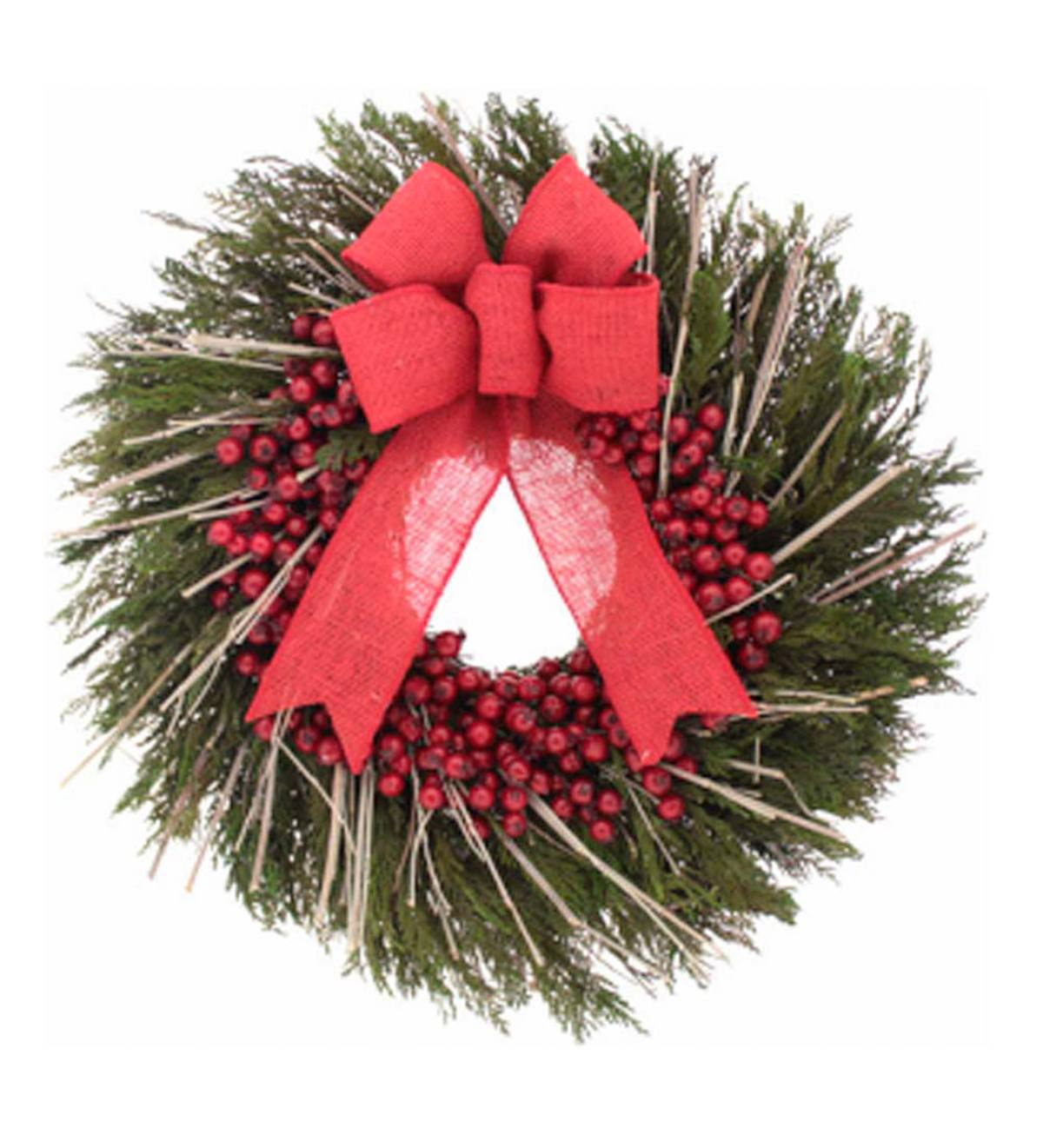 Preserved Cedar and Cranberries Holiday Wreath