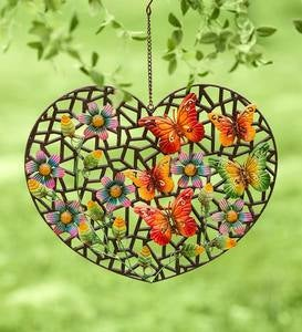 Hanging Metal Heart with Butterflies
