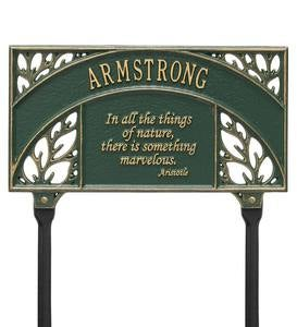 Personalized Aristotle Quote Garden Plaque - Black/Gold