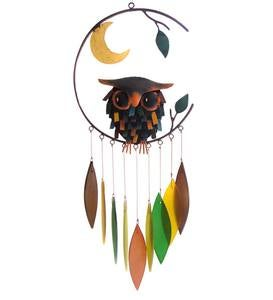 Colorful Metal and Glass Owl with Moon Wind Chime