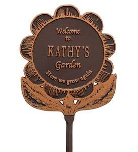 Personalized Flower Garden Plaque - Green/Gold
