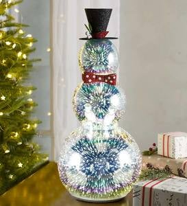 Glass Snowman with 3D Light Effects, Tall