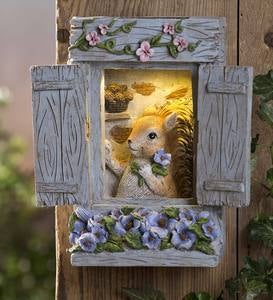 Squirrel in Window Lighted Wall Art