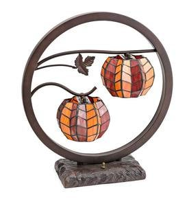 Double Stained Glass Pumpkin Lamp