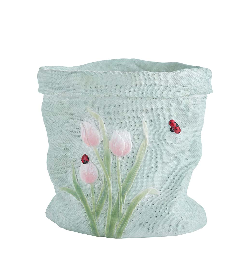 Weather-Resistant Resin Rumpled Bag Planter with Tulip Design swatch image