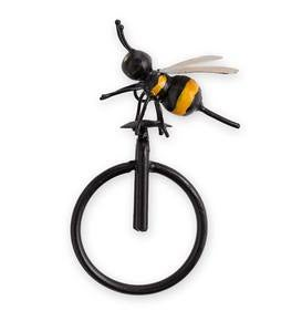 Small Metal Bee on Unicycle Wall Art