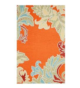 "Orange Rug with Ornamental Leaf Border, 8'3""W x 11'6""L"