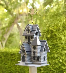 Gothic Castle Birdhouse with Metal Dragon Weathervane