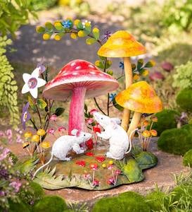 Handcrafted Colorful Metal Mice and Mushrooms Diorama