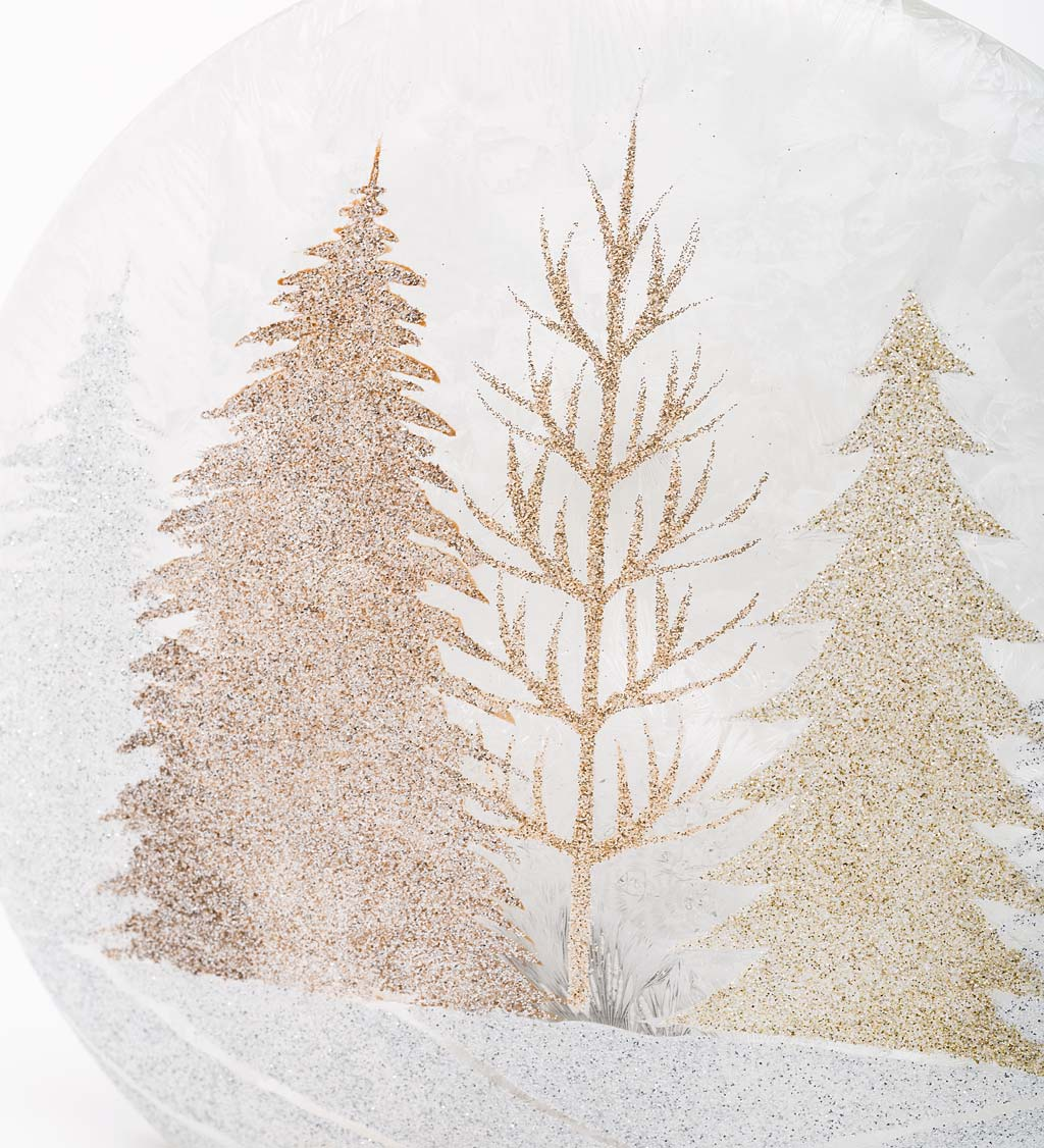 Winter Trees Battery-Operated Lighted Glass Tabletop Decoration
