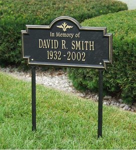Cast-Aluminum Arlington In Memory Of Lawn Plaque In Powder-Coated Finish - Black