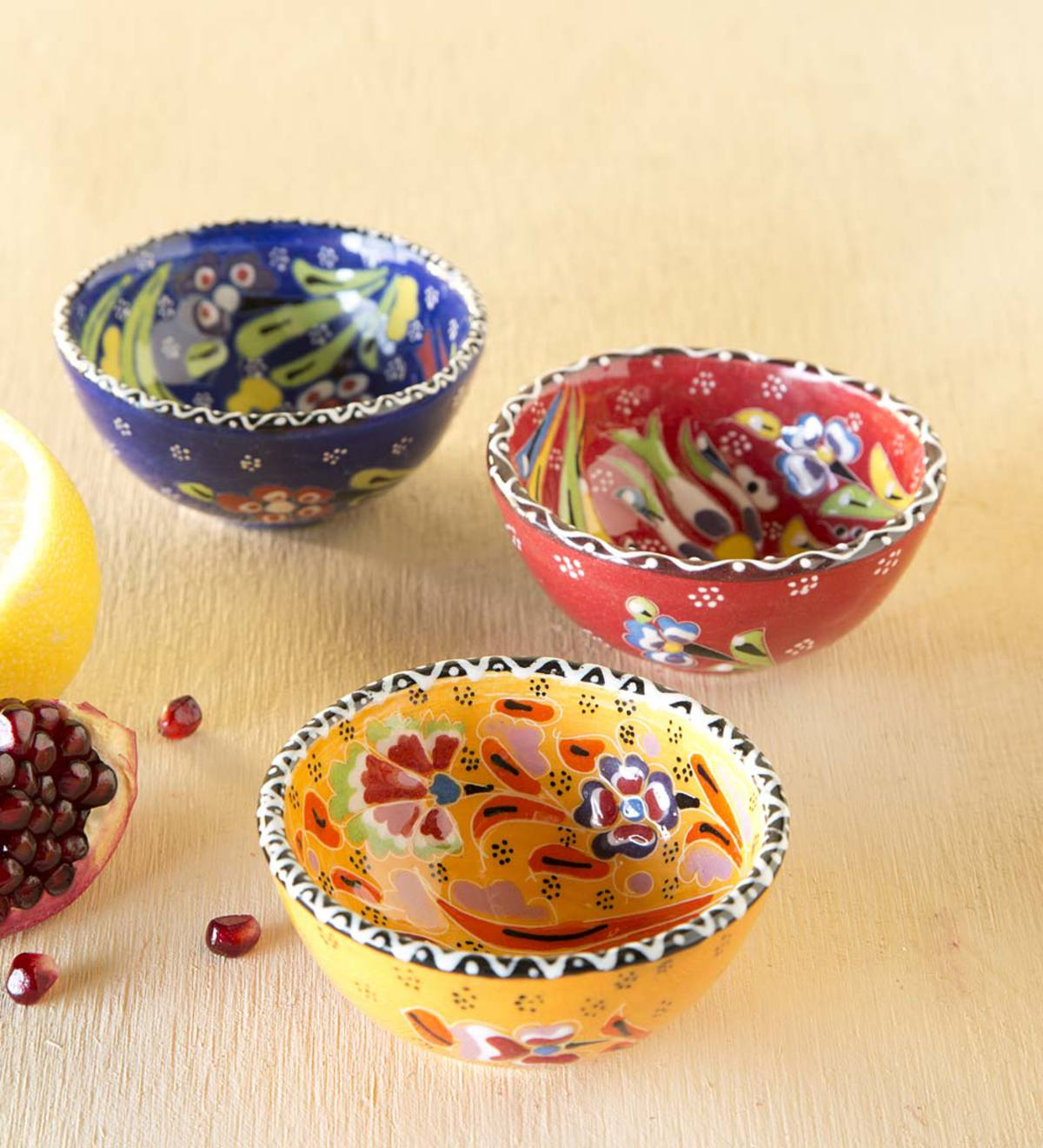Handcrafted Turkish Finger Bowls, Set of 3