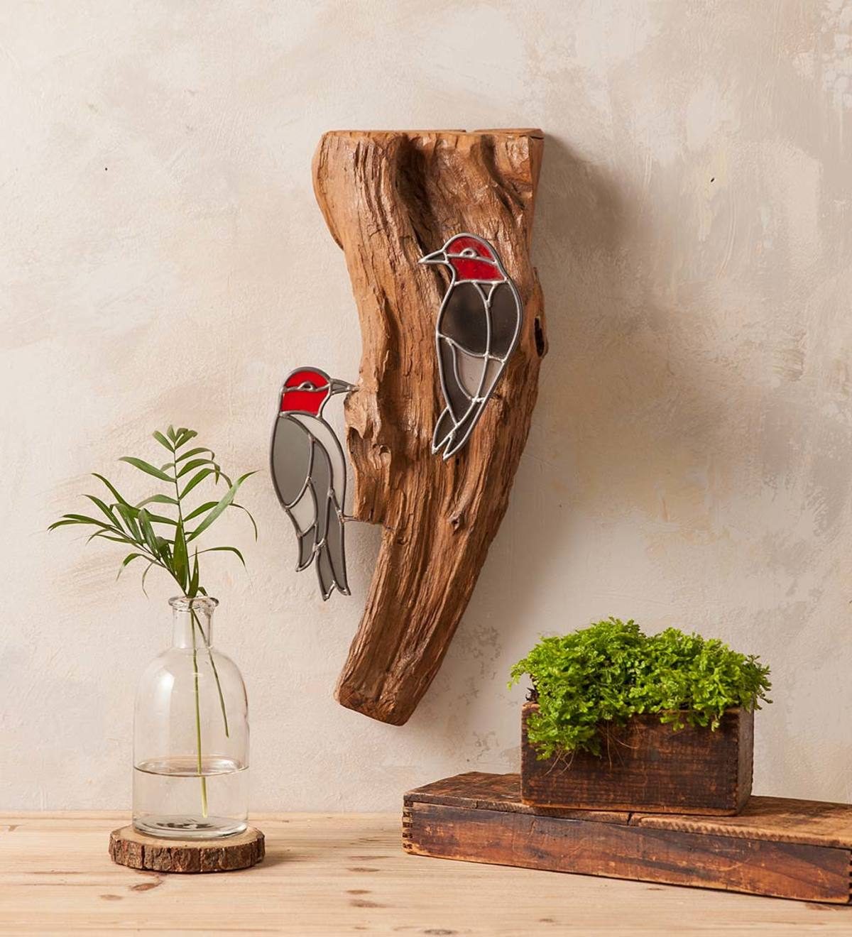 Stained Glass Woodpeckers on Natural Teak Wood Wall Art