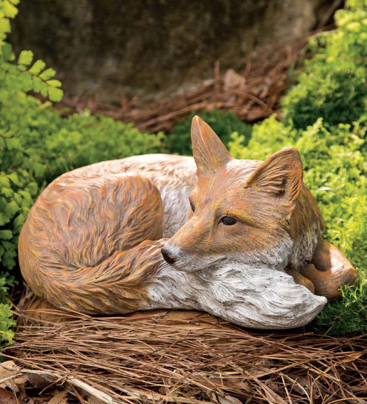 Lying Down Fox Garden Statue | Decorative Accents | Hidden and ...