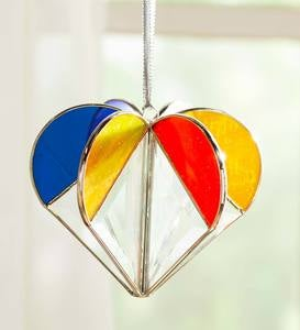Clear and Colored Stained Glass Heart Sun Catcher with Hanging Ribbon