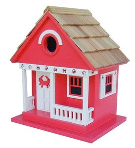 Wood Beach Cottage Birdhouse - Red with Crab