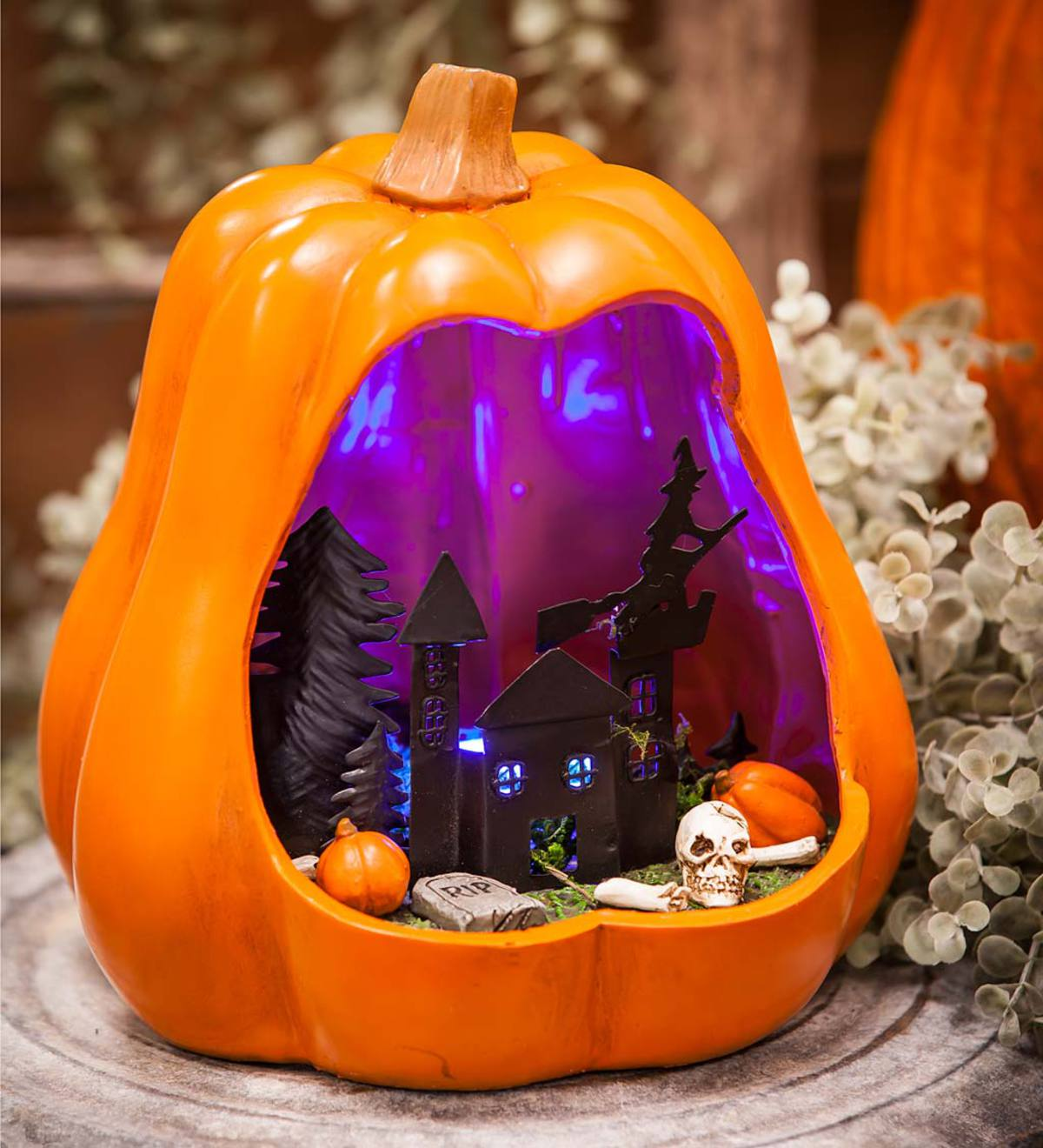 Lighted Pumpkin Tabletop Shadow Box