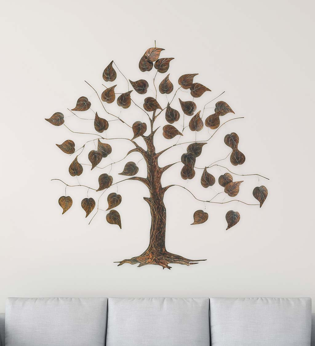 Large Metal and Capiz Tree Wall Art - Copper