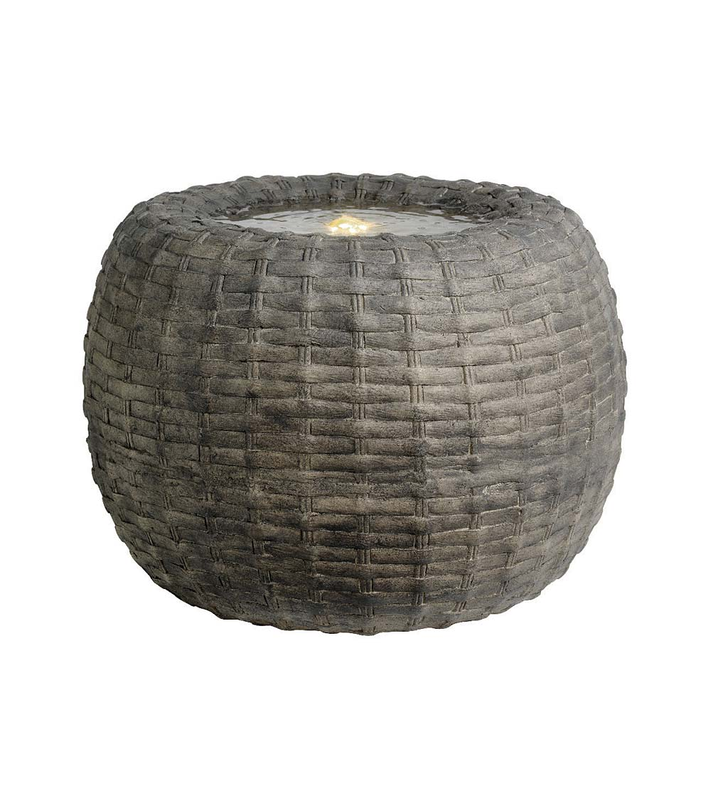 Indoor/Outdoor LED Lighted Wicker Basket Water Fountain - Gray