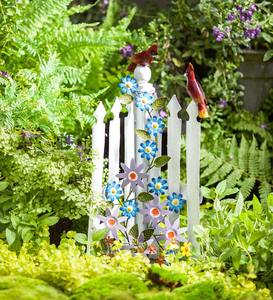 Metal Picket Fence with Flowers and Cardinals Sculpture