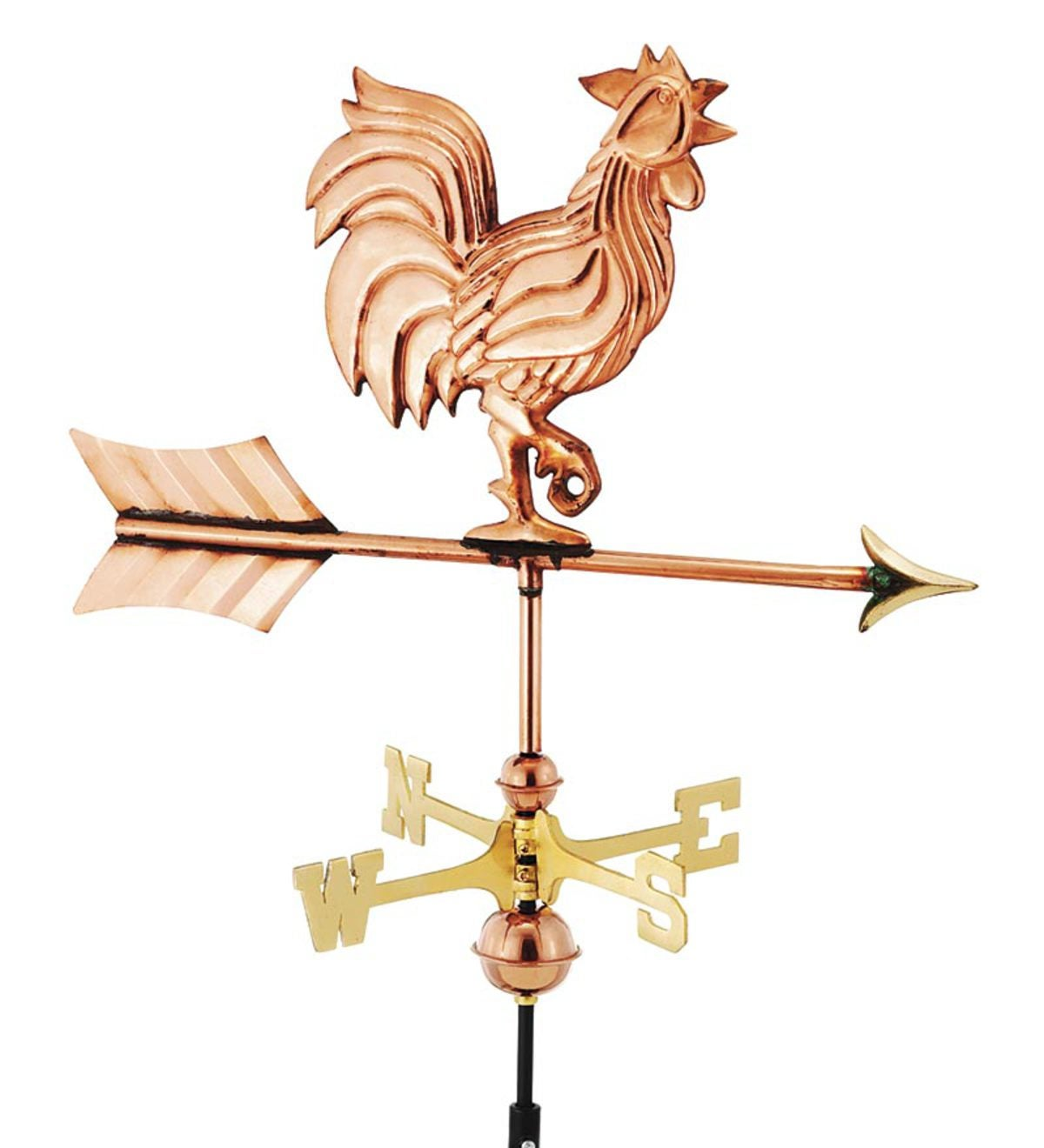 Handmade Rooster Weathervane With Roof Mount In Polished Copper