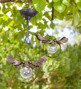 Solar Glass Crackle-Ball Dragonfly Light, Set of 2