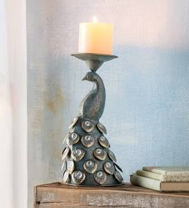 Handcrafted Metal Peacock Candle Holder