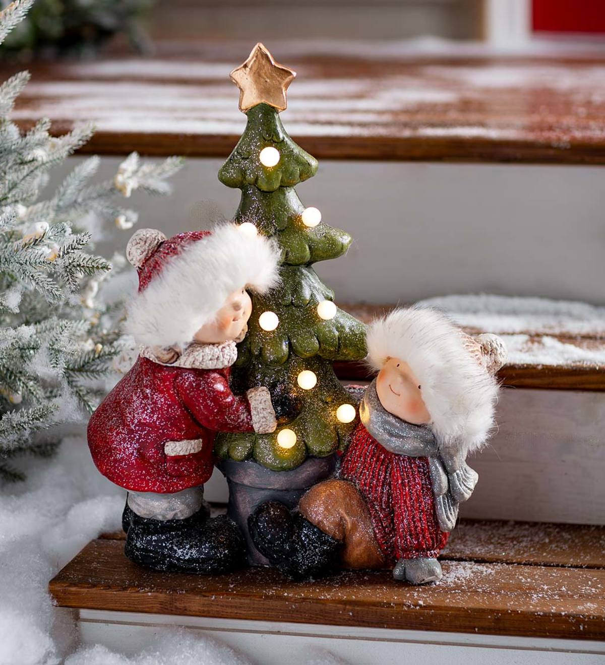 Snowman Family Lighted Tabletop Christmas Tree Wind-up Music Box