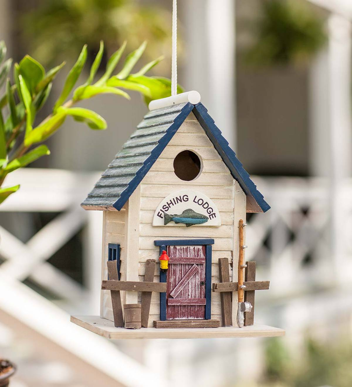 Wooden Fishing Lodge Bird House