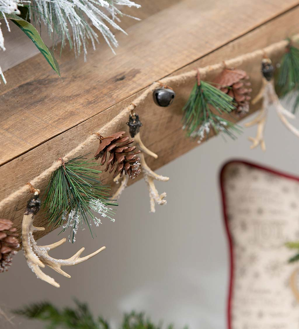 Snow Dusted Pinecone and Antler Rope Garland