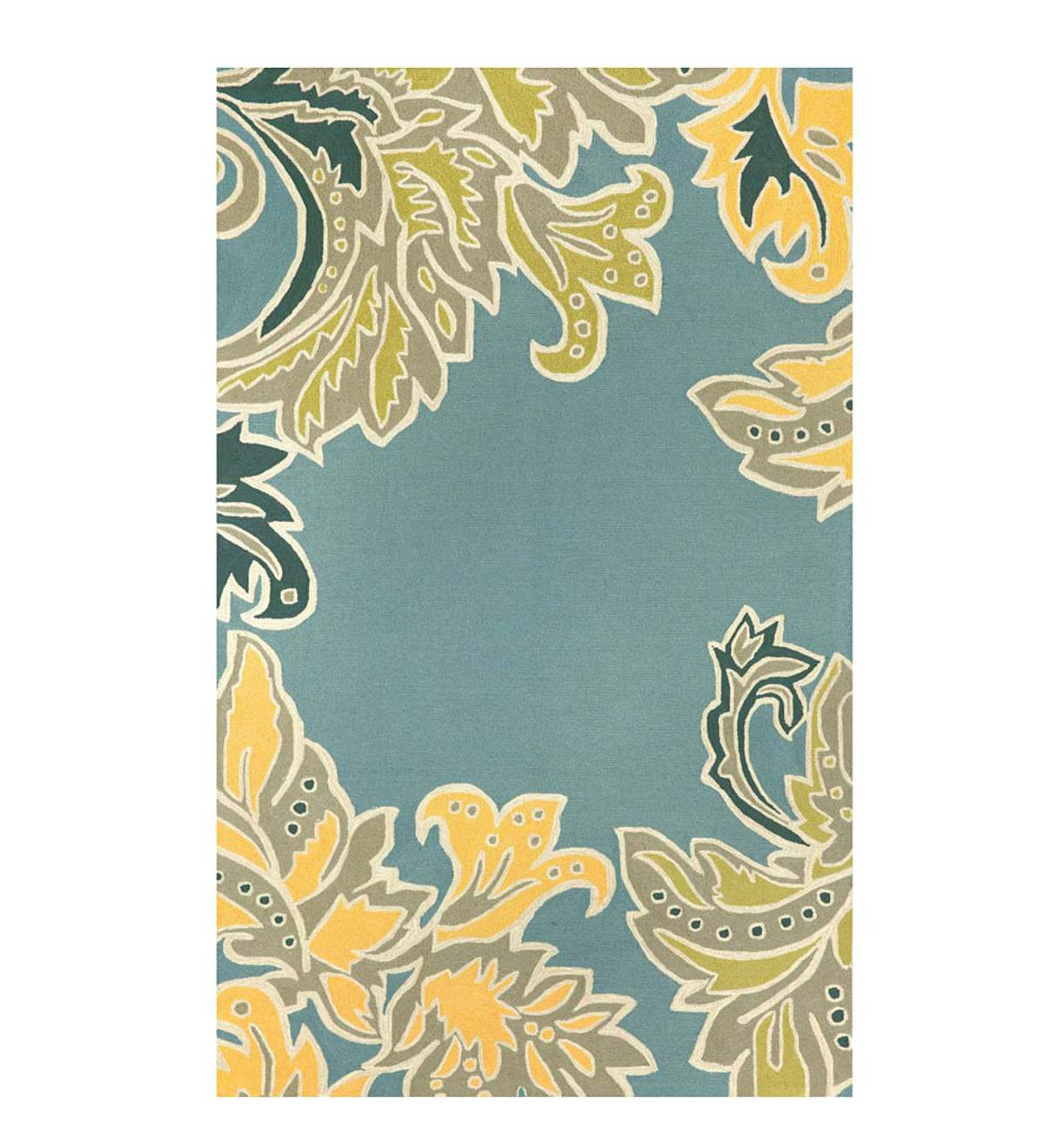 Blue Rug with Ornamental Leaf Border, 8'3&quote;W x 11'6&quote;L