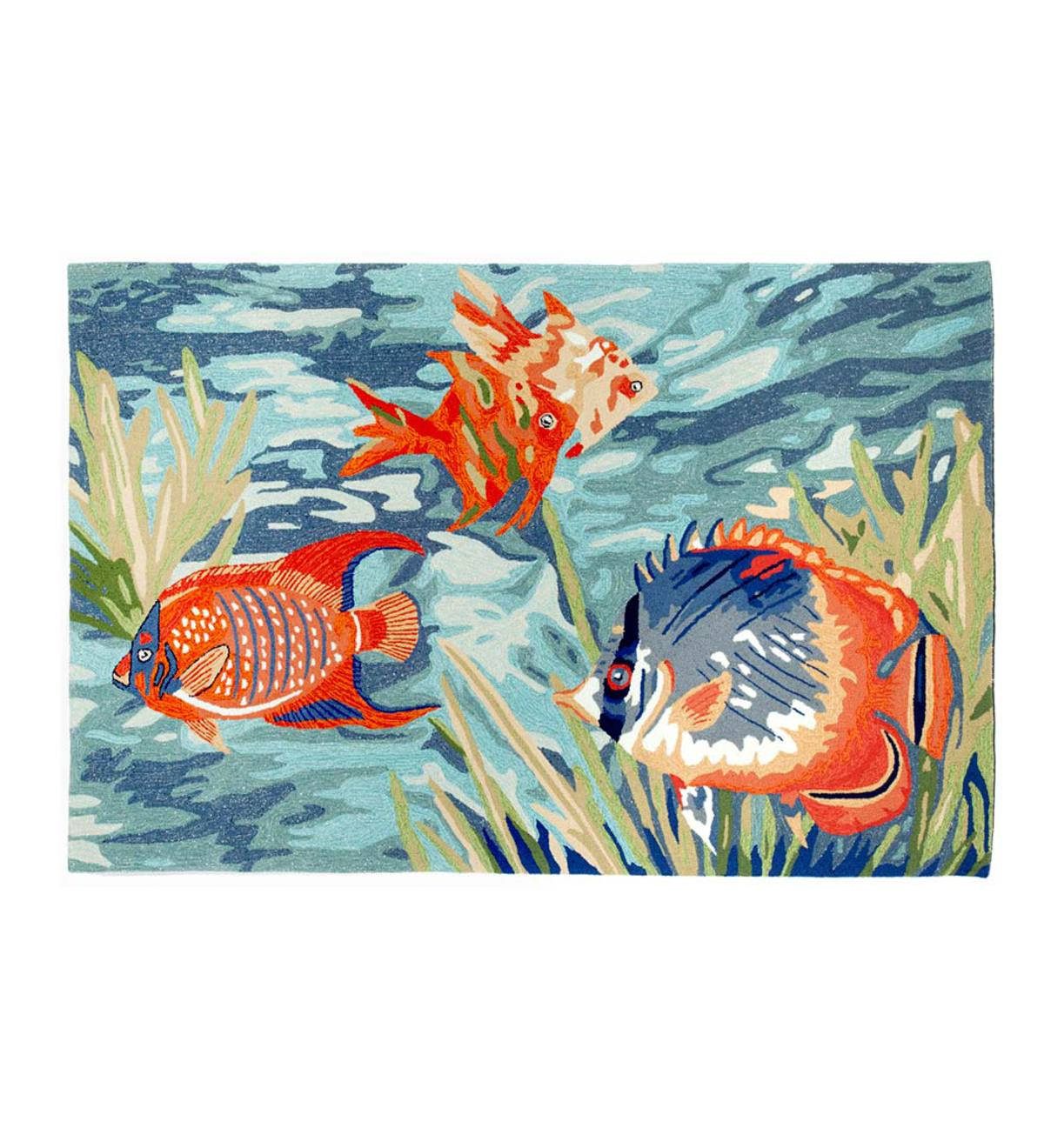 "Tropical Fish Indoor/Outdoor Rug, 42""W x 66""L"