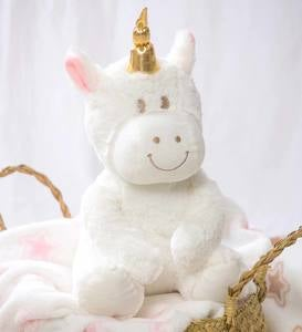 Cuddly Unicorn Stuffed Animal with Blanket Gift Set, White