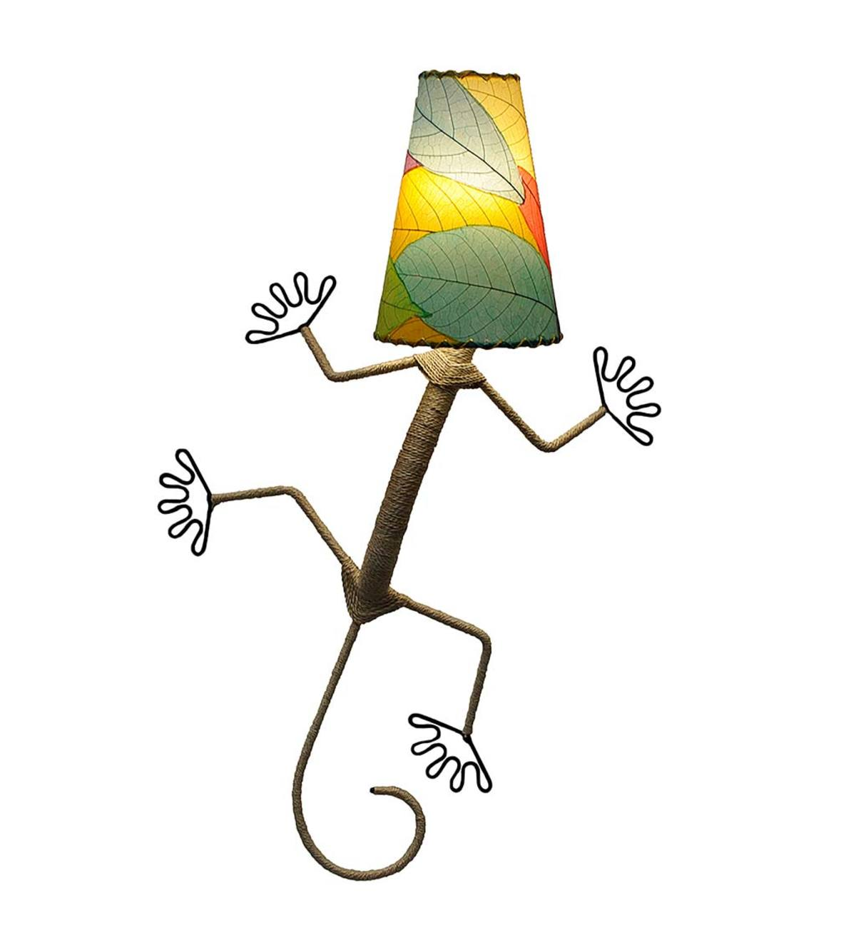 Handcrafted Gecko Wall Lamp - Multi