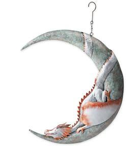 Dragon on Moon Hanging Metal Sculpture