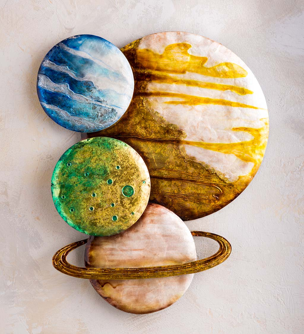 Handcrafted Colorful Metal and Capiz Planets Wall Art