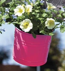 Metal Bucket Hanging Planter - Yellow