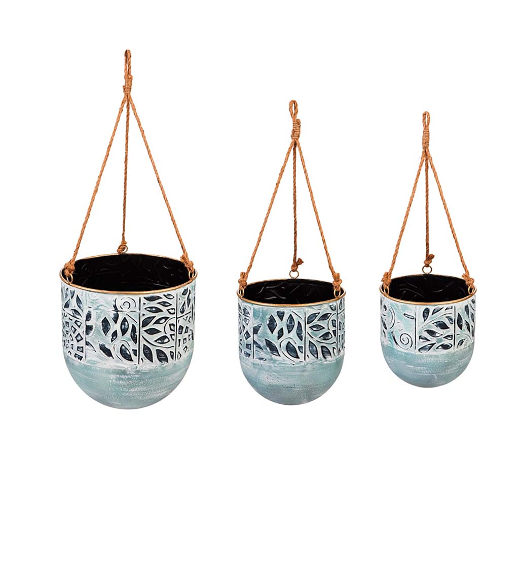 Embossed and Painted Metal Hanging Planters, Set of 3