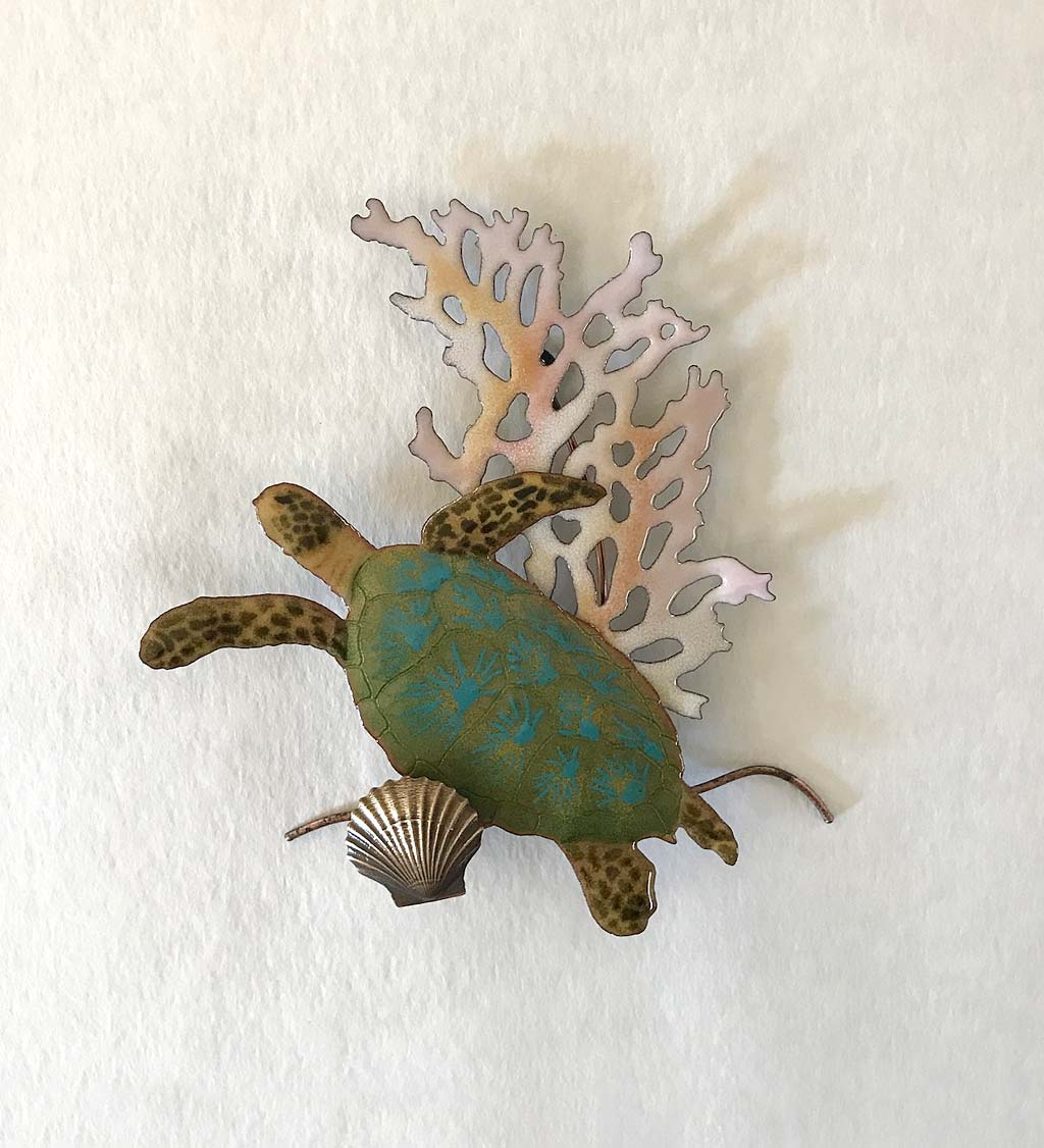 Handcrafted Sea Turtle and Coral Wall Art by Bovano