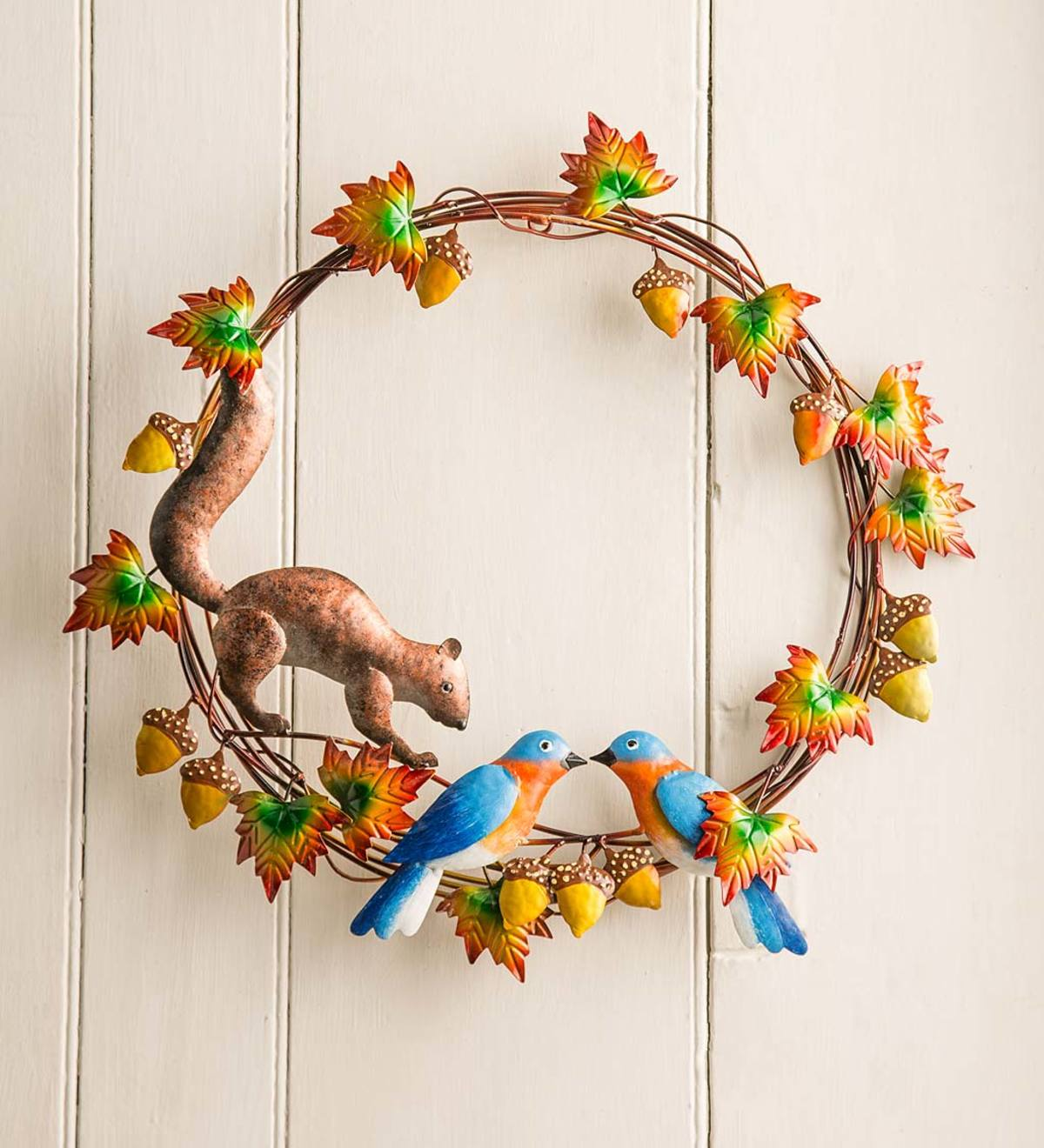 Handcrafted Bluebirds and Squirrel Metal Wreath