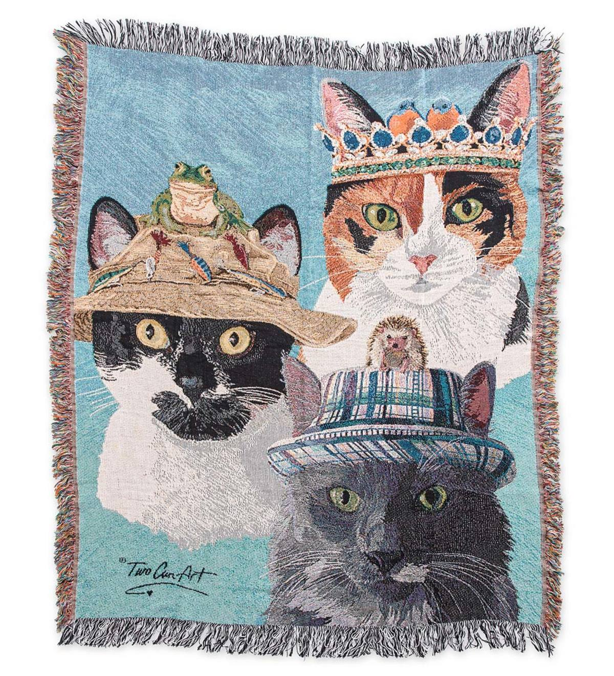 Cats in Hats Tapestry Throw Blanket