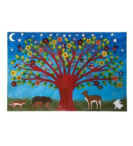 Tree Folk Art Painting on Metal