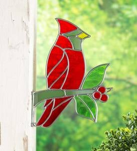 Handcrafted Wall-Mount Stained Glass Cardinal on Branch