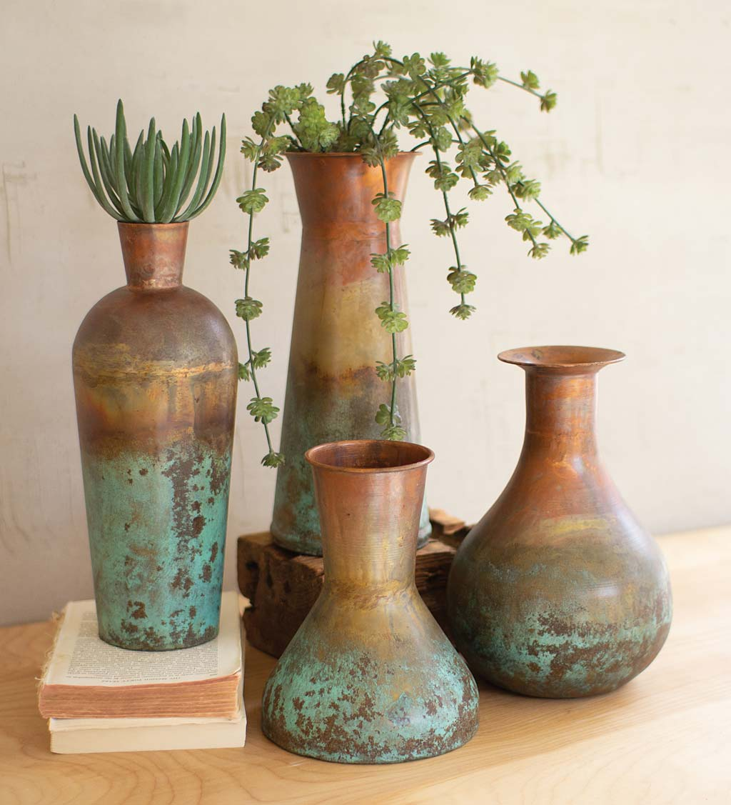 Two-Toned Copper Vases, Set of 4