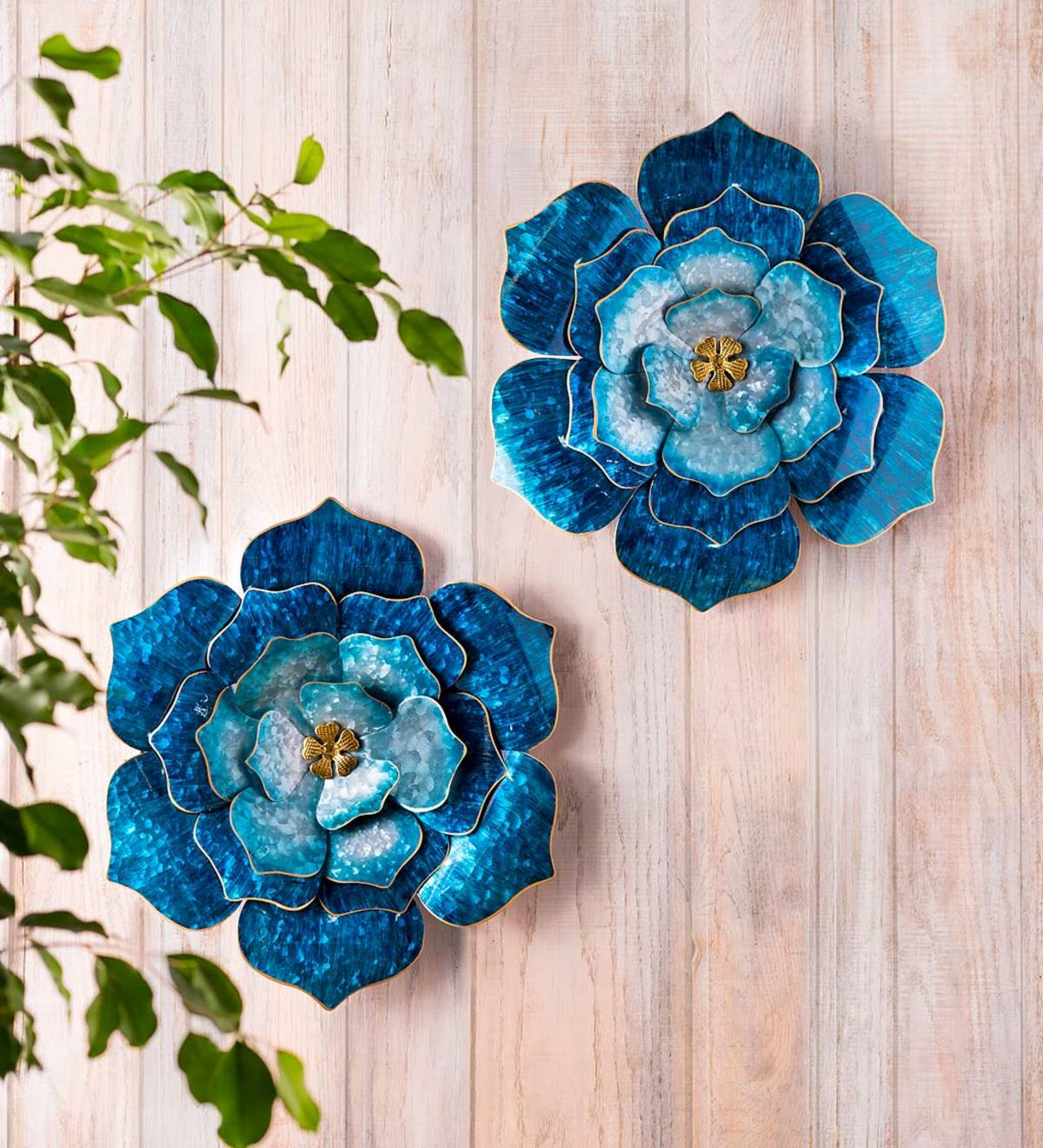 Handcrafted Blue Metal Flower with Golden Center Wall Art