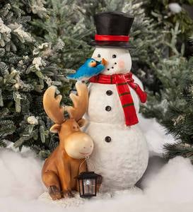 Snowman and Animals Solar Holiday Figurine
