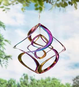 Vibrant Multi-Colored Iridescent Dual Spiral Hanging Metal Wind Spinner