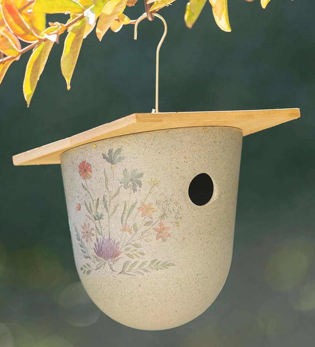 Full Circle Eco Conscious Hanging Bird House with Wildflower Decal